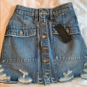 CARMAR button jean skirt